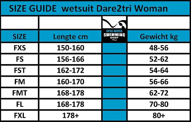 dare2tri maattabel woman