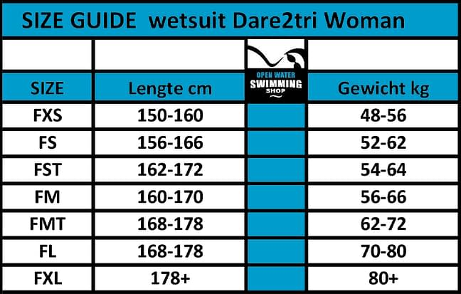 dare2tri maattabel woman